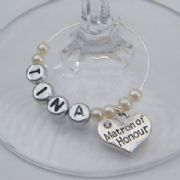 Matron Of Honour Personalised Wine Glass Charm